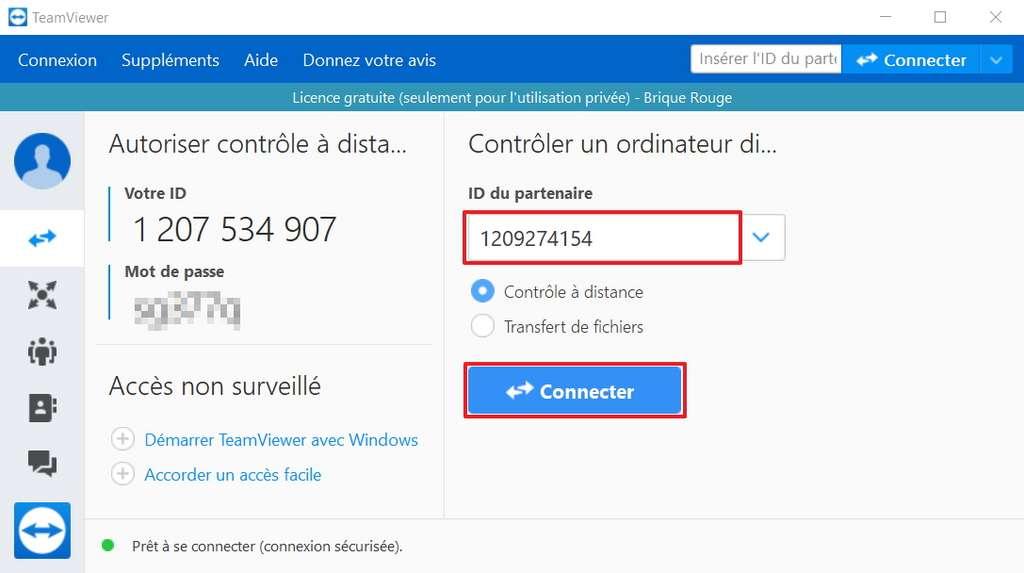 Écrivez l'ID du PC auquel vous avez l'intention de vous connecter. © TeamViewer GmbH