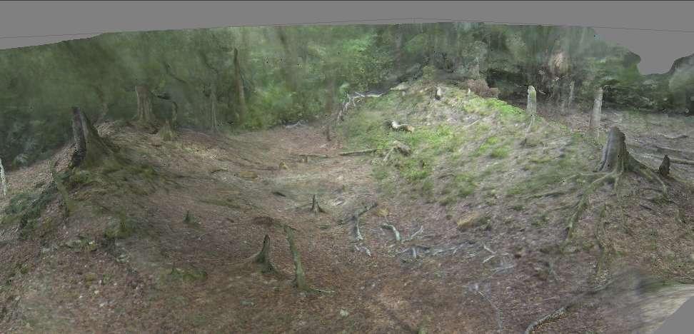 Modèle tridimensionnel d'un ancien terrain de jeu de balle maya. Il a été reconstitué à partir d'images aériennes prises par un dispositif placé sous le drone d'Arch Aerial, tandis qu'il volait dans la forêt bélizienne. Il reproduit une image fidèle du site, de quoi aider les archéologues dans leurs tâches. © Arch Aerial