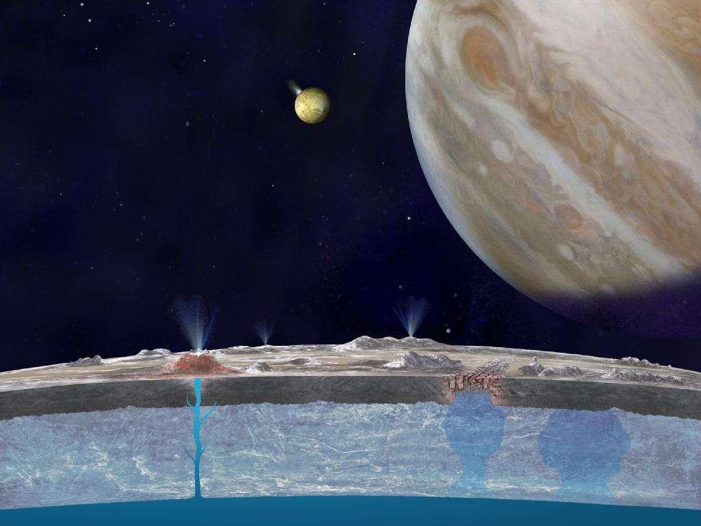 Une vue d'artiste en coupe de la banquise d'Europe. Des diapirs de glace salée sont en train de remonter à droite. Io est bien visible en éruption, à gauche de Jupiter. Un cryovolcan est actif à gauche sur la surface d'Europe. © Nasa, JPL-Caltech