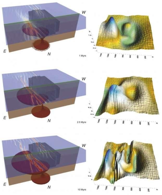Expérience numérique vue en 3D à gauche et en surface à droite. À gauche : la lithosphère est en violet, le manteau en marron, le panache venu du manteau en rouge. Le bloc dans la lithosphère représente le craton. L'expérience se déroule entre 1 million d'années en haut, jusqu'à 10 millions d'années en bas. Au cours du temps le panache contourne le craton (ici vers la gauche) et deux ensembles de fissures apparaissent (deux rifts). Celui du gauche (est) est fortement magmatique (rouge). © Koptev et al., Nature Geoscience