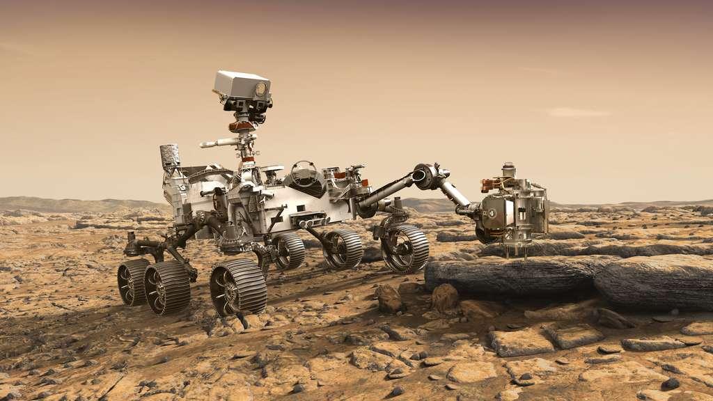 Illustration de Mars 2020 en train de travailler à la surface de Mars. Où se posera le rover? Les trois sites finalistes sont Columbia Hills, Gusev (la région où a prospecté Spirit), cratère Jezero, NE Syrtis. © Nasa, JPL-Caltech