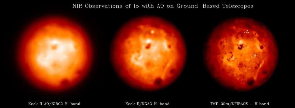 Une comparaison de la résolution des images de la surface de Io obtenues avec le Keck et une simulation de celle que devrait fournir le TMT. © Franck Marchis
