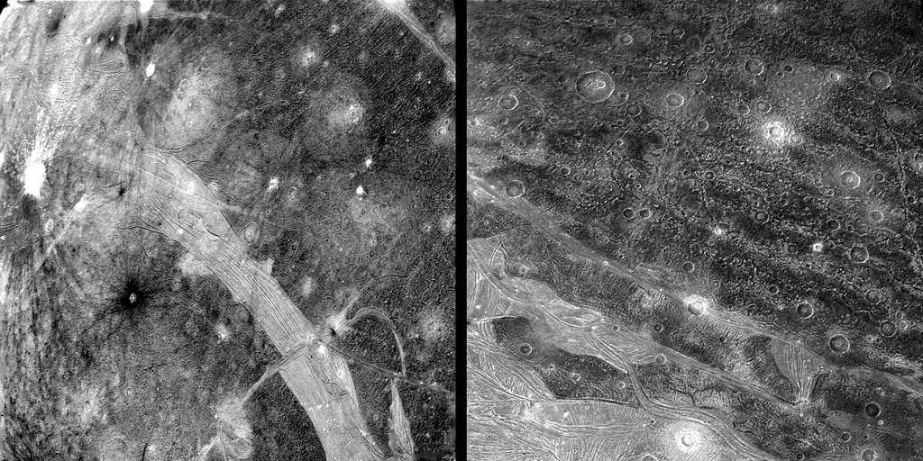 Des images de la surface de Ganymède prise par Voyager 2. Certaines structures font penser à la banquise d'Europe et sont peut-être les traces d'une époque où cette lune a été chauffée et malaxée par des forces de marée. © Nasa