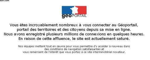 Le site Geoportail est resté inaccessible pendant plusieurs jours © IGN