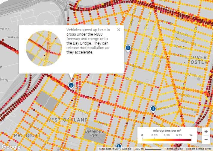 Sur cette capture d'écran extraite de la carte interactive Google Maps sur la pollution atmosphérique dans la ville d'Oakland (Californie), on peut voir, matérialisés par des points de couleurs, les niveaux en microgrammes par mètre cube d'oxyde nitrique (NO), de dioxyde d'azote (NO2) et de noir de carbone. © Google