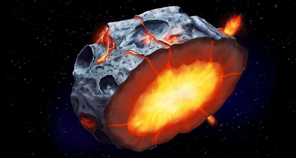 Une vue d'artiste d'un volcanisme qui s'est peut-être produit il y a plus de 4 milliards d'années à la surface de (16) Psyché. © Elena Hartley