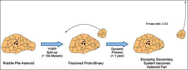 L'effet YORP est à l'origine de la fragmentation des astéroïdes. Le plus petit des deux morceaux, s'il représente moins de 60% de la taille de son grand frère, s'en éloigne lentement. Crédit P. Pravec