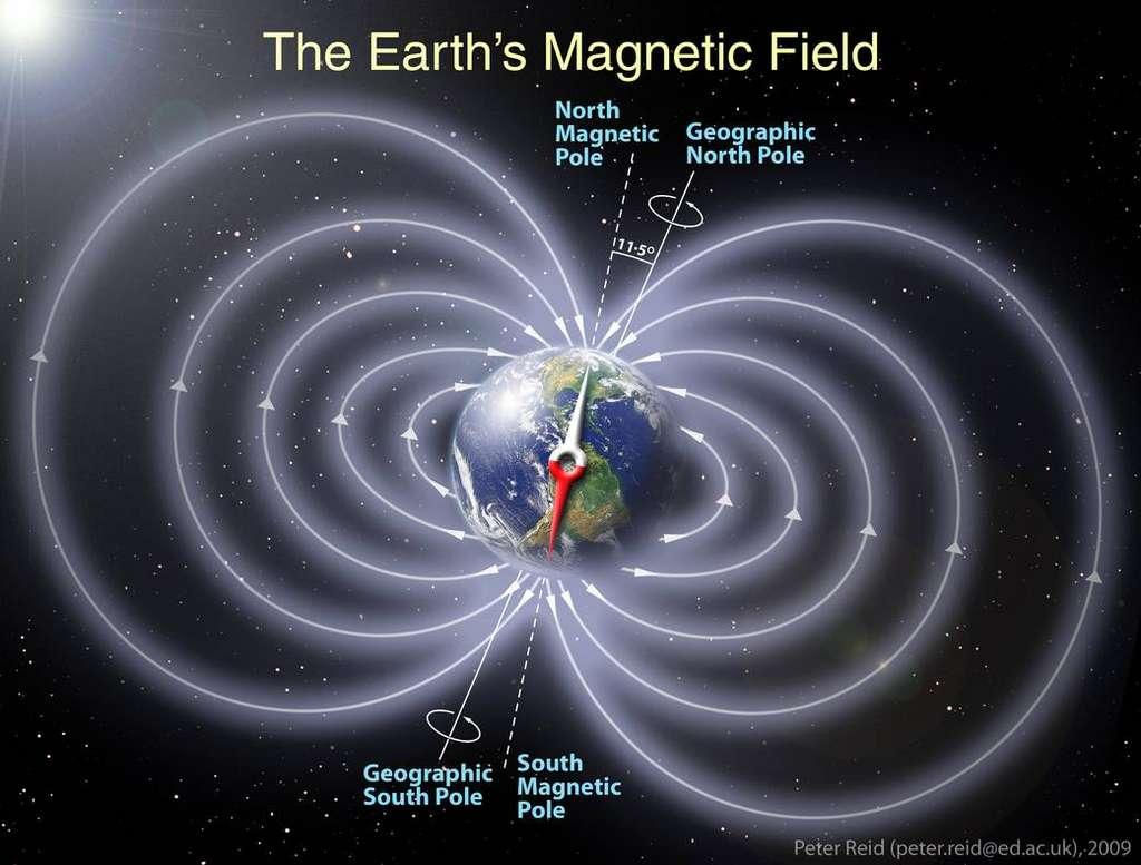 Représentation du champ magnétique de la Terre. © Nasa