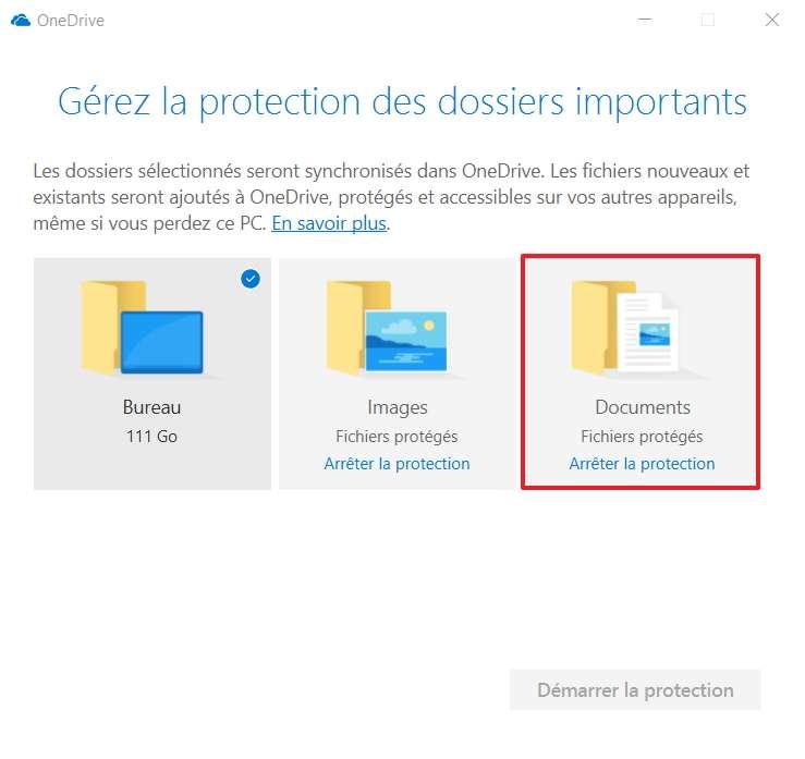 Arrêtez la protection du dossier de votre choix. © Microsoft
