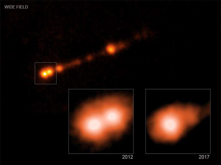 Sur ces images en fausses couleurs prises dans le domaine des rayons X avec Chandra on voit bien en cinq ans l'évolution des noyaux de matière présent dans le jet de M87*. © Nasa, CXC, SAO, B.Snios et al
