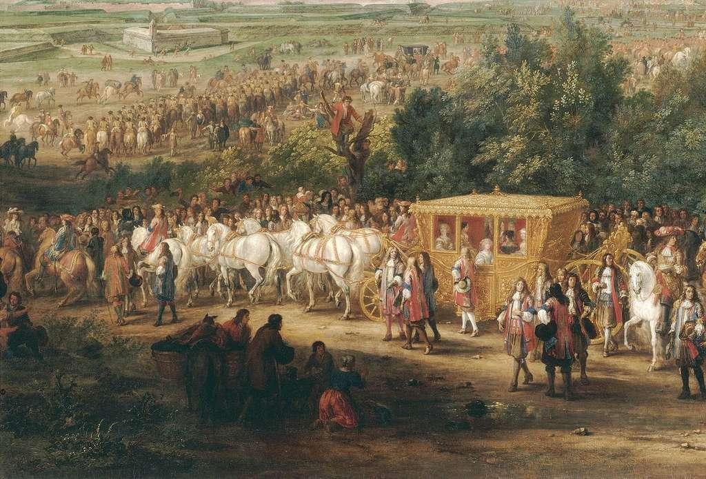 Entrée solennelle de Louis XIV et de la reine Marie-Thérèse à Arras, le 30 juillet 1667, pendant la guerre de Dévolution ; par Adam François van der Meulen. Le roi est sur le cheval blanc derrière le carrosse de la reine. © RMN-Grand Palais (Château de Versailles), Gérard Blot
