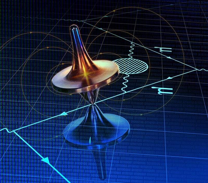 Évocation du calcul de l'effet de la polarisation du vide hadronique sur le magnétisme du muon. Comme une toupie, le muon (µ) tourne sur lui-même, devenant un minuscule aimant entouré d'un champ magnétique. Le muon suit une trajectoire le long de laquelle il interagit avec l'aimant de l'expérience « Muon g-2 » et avec des particules éphémères du vide quantique. Il polarise ainsi le vide hadronique, ce qui modifie son moment magnétique. Le fond, de 0 et de 1, et le pavage carré, évoquent le calcul sur supercalculateurs qui est l'une des approches décrites ici. © Dani Zemba, Penn State University, Cnrs