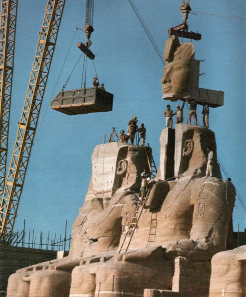 Le déplacement du Grand temple d'Abou Simbel. © Per Olow Anderson, Wikimedia Commons, Domaine public