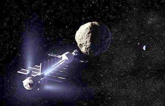 Une vue d'artiste d'un vaisseau utilisé pour faire du remorquage gravitationnel. © Dan Durda