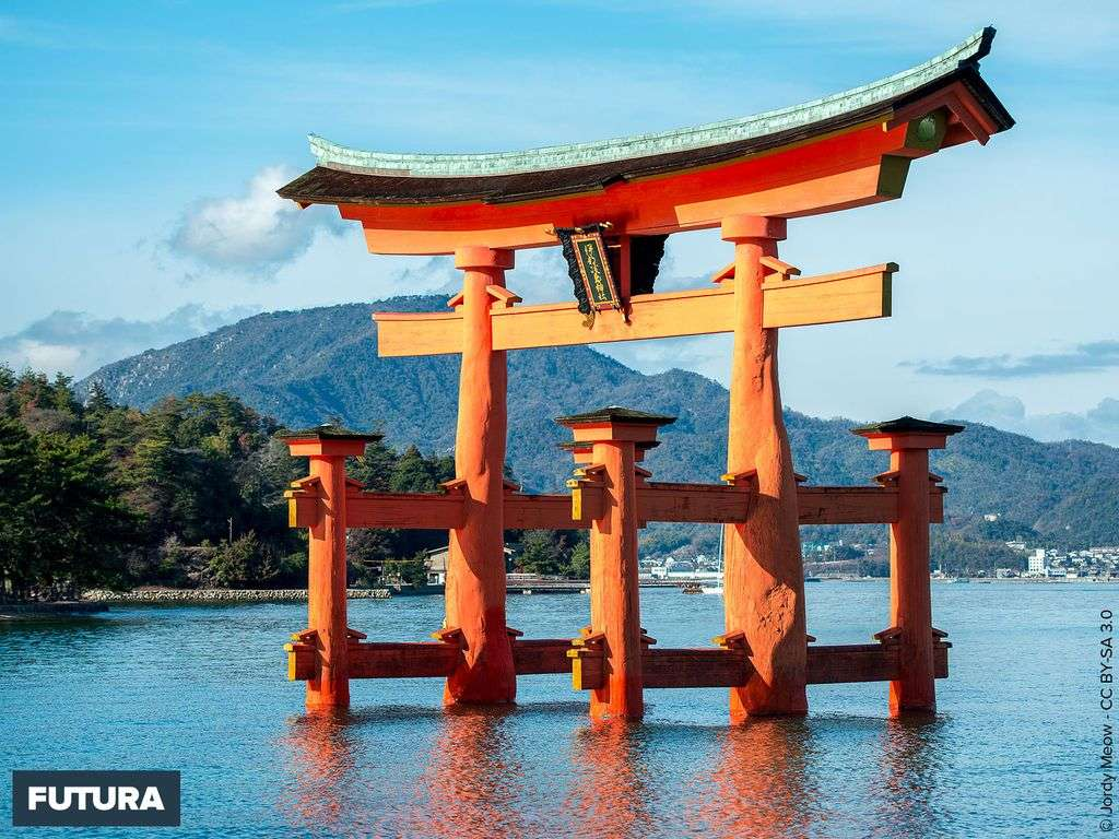 Le torii du sanctuaire shinto d'Itsukushima-jinja