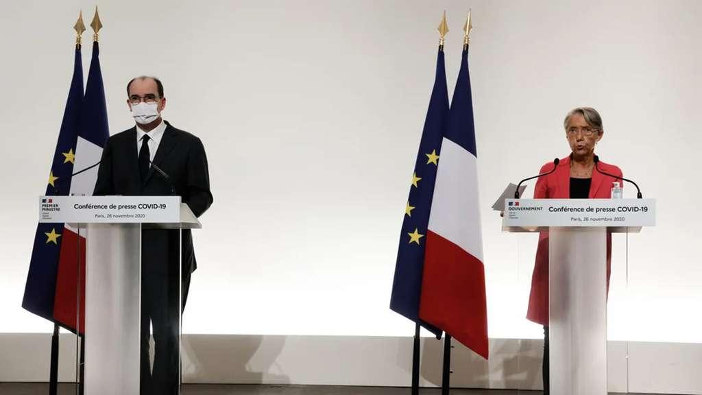 La conférence de presse de Jean Castex et Élisabeth Borne du 26 novembre 2020. © Ludovic Marin, Pool, AFP