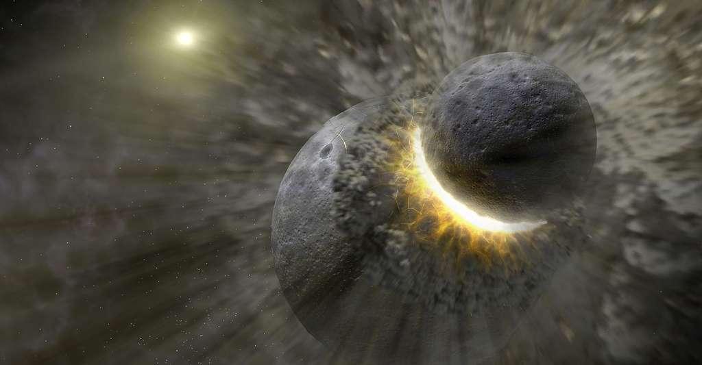 Comment les planètes se sont-elles formées ? Ici, vue d'artiste d'une collision. © Nasa, JPL-Caltech, T. Pyle (SSC), Wikimedia Commons, DP