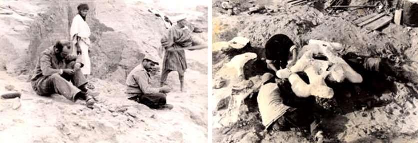 René Lavocat sur le terrain (assis, sur la gauche de la photo de gauche) et plâtrage d'ossements de dinosaures dans le site de Gara Sbâa au Maroc. © R. Lavocat