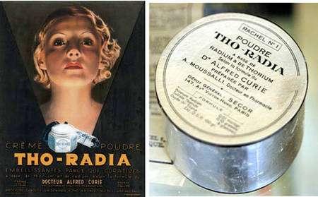 La société Tho-Radia avait une gamme complète de produits de beauté (Musée Curie, Paris)