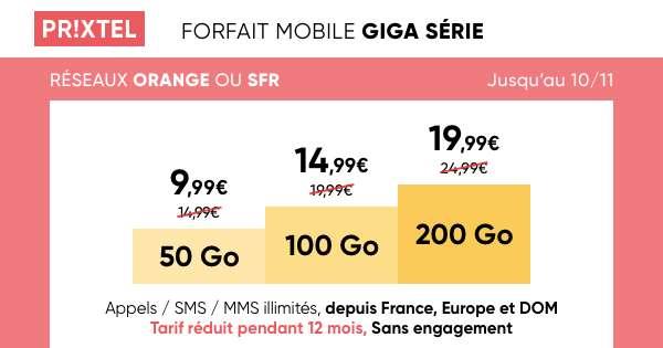 Les Forfaits Giga Séries en promotion © Prixtel