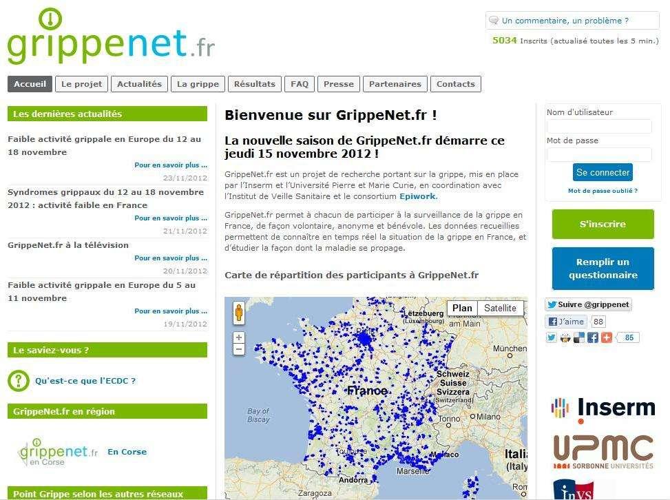 Le site GrippeNet.fr est relancé depuis le 15 novembre dernier. Grâce à la participation des gens, l'épidémie de grippe saisonnière sera mieux évaluée. © GrippeNet.fr