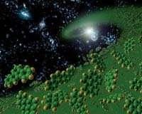Les molécules organiques, composées en grande partie d'hydrogène et de carbone, sont considérées comme les premières briques de la vie (Crédits : NASA / Stanford Lockheed Institute for Space Research)