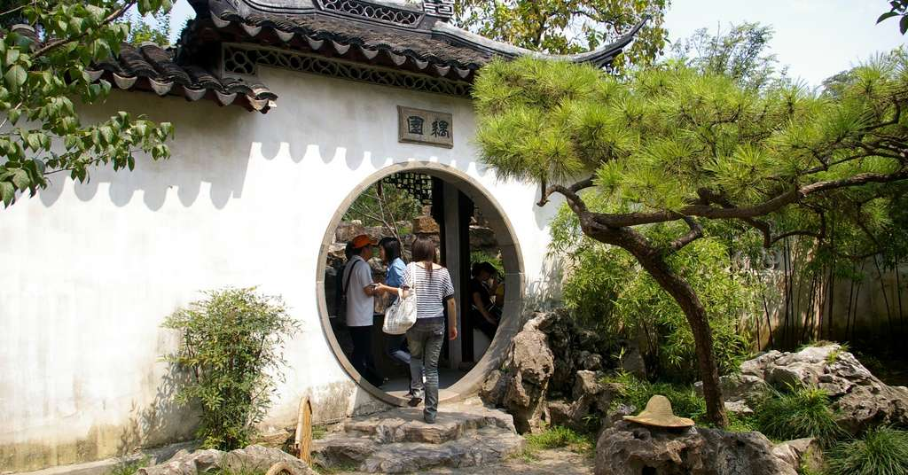 Porte ronde chinoise ou porte de Lune