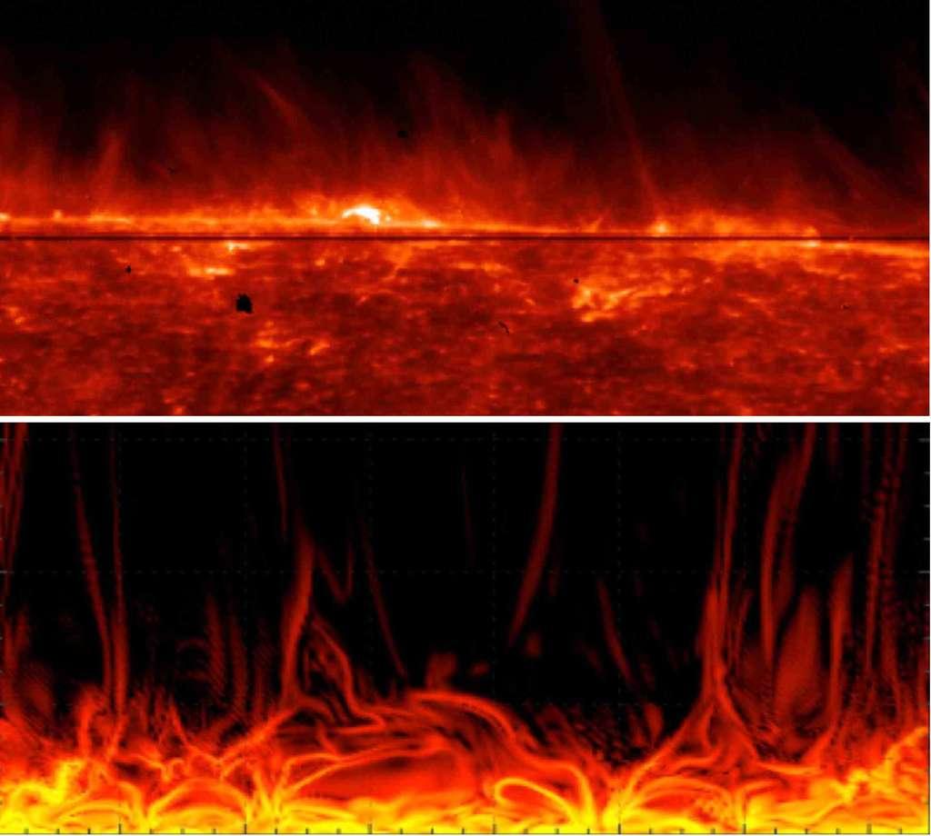 En haut : la surface du Soleil selon les données de la mission spatiale Iris de la Nasa, avec en fond la structure dynamique de l'atmosphère chauffée (© Iris/Nasa). En bas : modélisation de l'atmosphère solaire montrant à haute résolution la formation de courants électriques importants qui s'élèvent telles des flammes. © Tahar Amari / Centre de physique théorique