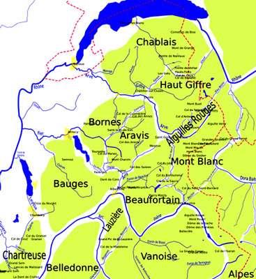Carte des Alpes centrales.