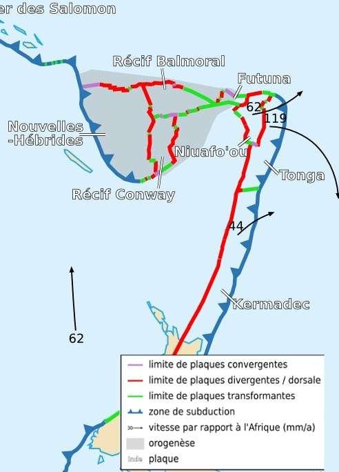 Détails de l'activité tectonique de la zone où se situe l'épicentre du séisme. Pour que le tremblement de terre atteigne une telle intensité, il faut que les plaques bougent simultanément aux différents types de limites de plaques. © Sting et Rémih, cc by sa 2.5