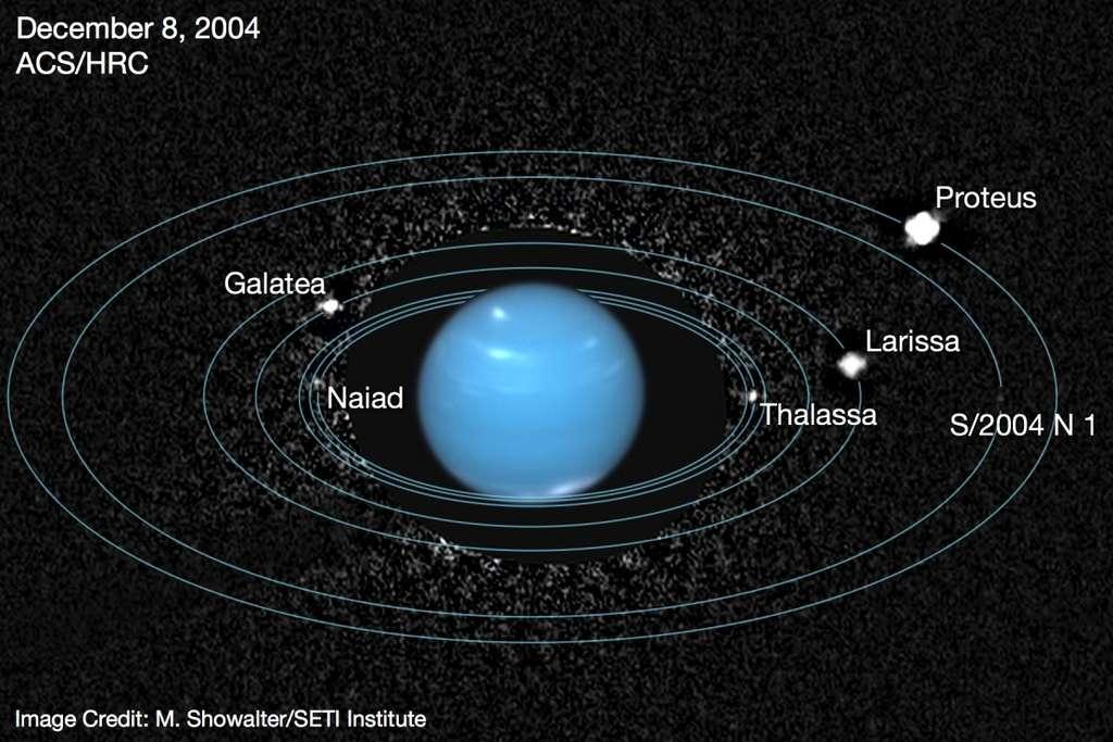Cette image a été obtenue en combinant des observations faites par le télescope Hubble. On a représenté les orbites de plusieurs des lunes de Neptune comme Protée (Proteus), Galathée (Galatea) et Thalassa. © Mark Showalter, Seti Institute