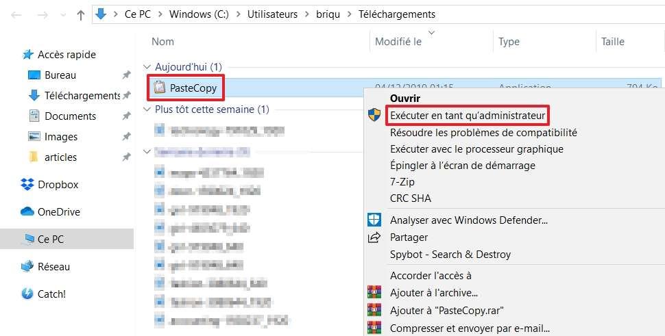 Effectuez un clic droit sur le fichier d'installation et sélectionnez pour « Exécuter en tant qu'administrateur ». © Microsoft