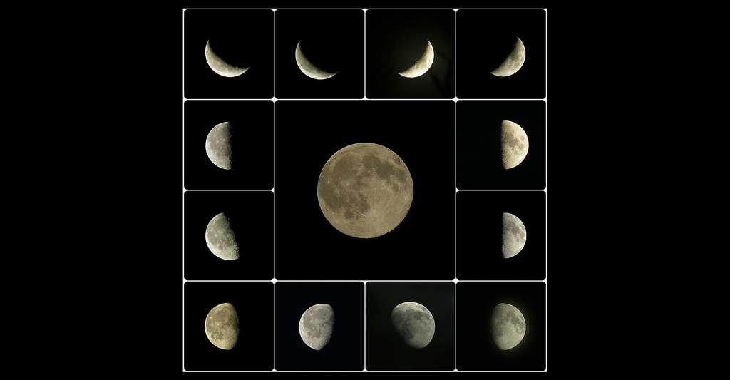Les phases de la Lune, ici représentées, forment les mois terrestres. © OliBac, CC By 3.0