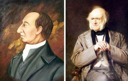 À gauche, James Hutton (1726-1797) ; à droite, Sir Charles Lyell (1797-1875), deux géologues à l'origine du concept d'uniformitarisme. © DR