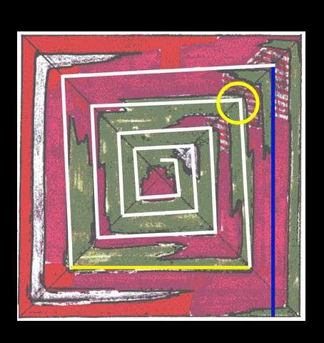La première section de la rampe (en bleu) est parallèle à la face est, et monte jusqu'à la première chambre que Bob Brier a explorée dans le coin nord-est. La deuxième section et la troisième section (en blanc) montent en biais, car elles épousent la pente de la pyramide inclinée vers l'intérieur. La quatrième section, située à 43 m de hauteur (en jaune), est horizontale et parallèle à la face sud. Les 14 sections suivantes (en blanc) montent en biais jusqu'au sommet. La chambre que Bob Brier a explorée est entourée d'un cercle jaune. © Jean-Pierre Houdin, fondation EDF