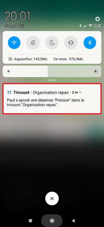 Recevez directement les notifications sur votre smartphone quand un participant procède à une opération. © Tricount