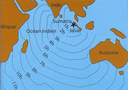 Le tsunami du 26 décembre 2004, qui a pris naissance à Sumatra en Indonésie, s'est propagé à travers tout l'océan Indien en une dizaine d'heures (les heures écoulées depuis le début du tsunami sont indiquées). © dessin J.L. Bernard, in Bardintzeff, 2010