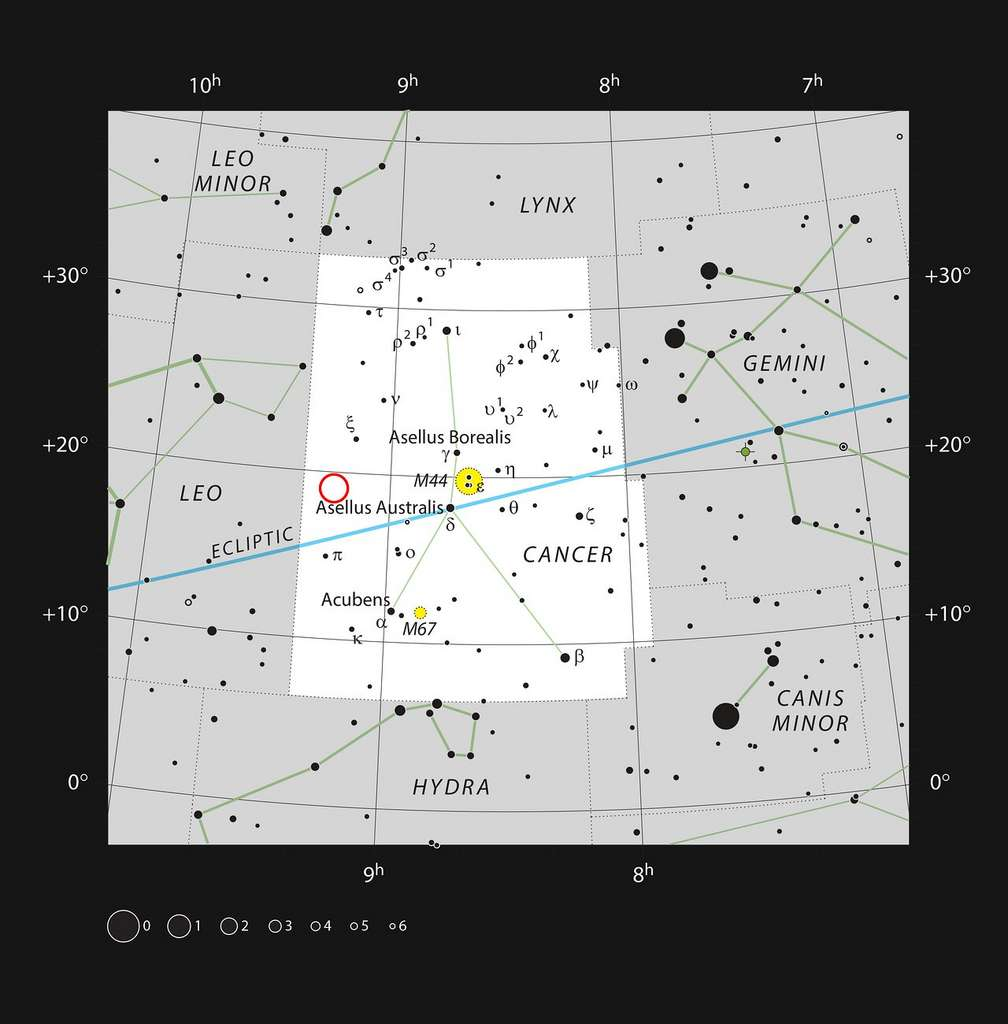 Sur cette carte, figure la localisation de WDJ0914+1914 dans la constellation du Cancer. La plupart des étoiles visibles à l'œil nu par temps clair et par nuit sombre est représenté, un cercle de couleur rouge entoure WDJ0914+1914. Cette naine blanche est l'hôte d'une exoplanète de type Neptune en cours d'évaporation. Il s'agit de la toute première planète géante découverte autour d'une naine blanche. © ESO, IAU and Sky & Telescope