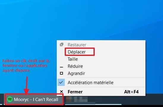 Maintenez la touche « Maj », faites un clic droit sur le programme dans la barre des tâches et cliquez sur « Déplacer ». © Microsoft