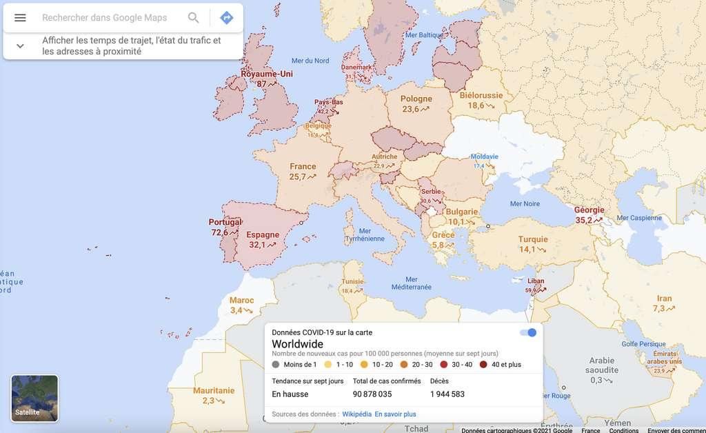在Google Maps上可视化当前的大流行。