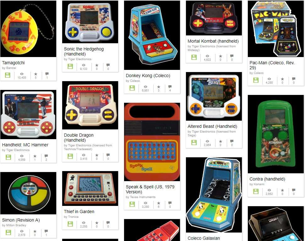 La collection de consoles de jeu portables d'Internet Archive. © Internet Archive