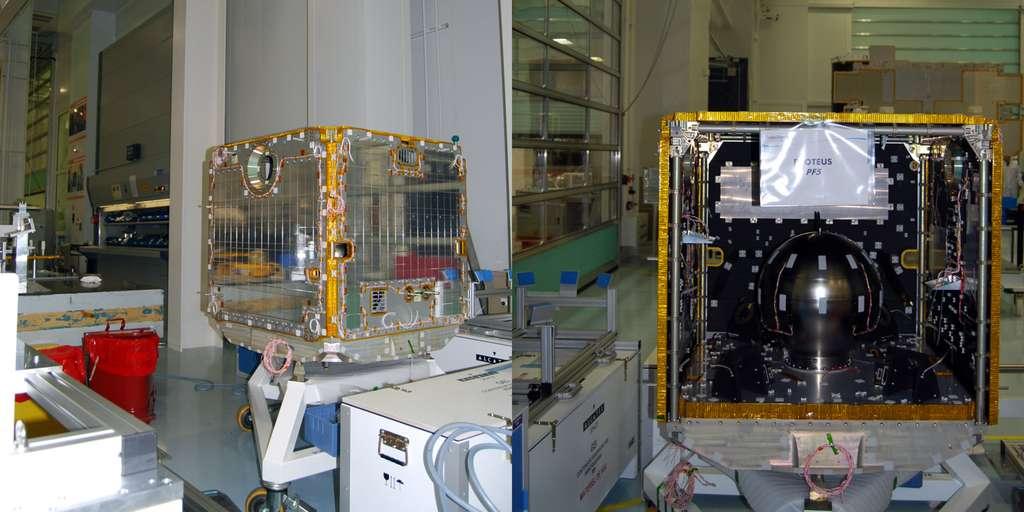 Une plateforme Proteus autour de laquelle est construit le satellite Jason-3. © Rémy Decourt