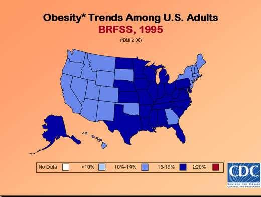 Taux d'obésité aux États-Unis en 1995.