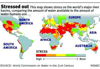Carte mondiale du stress hydrique.