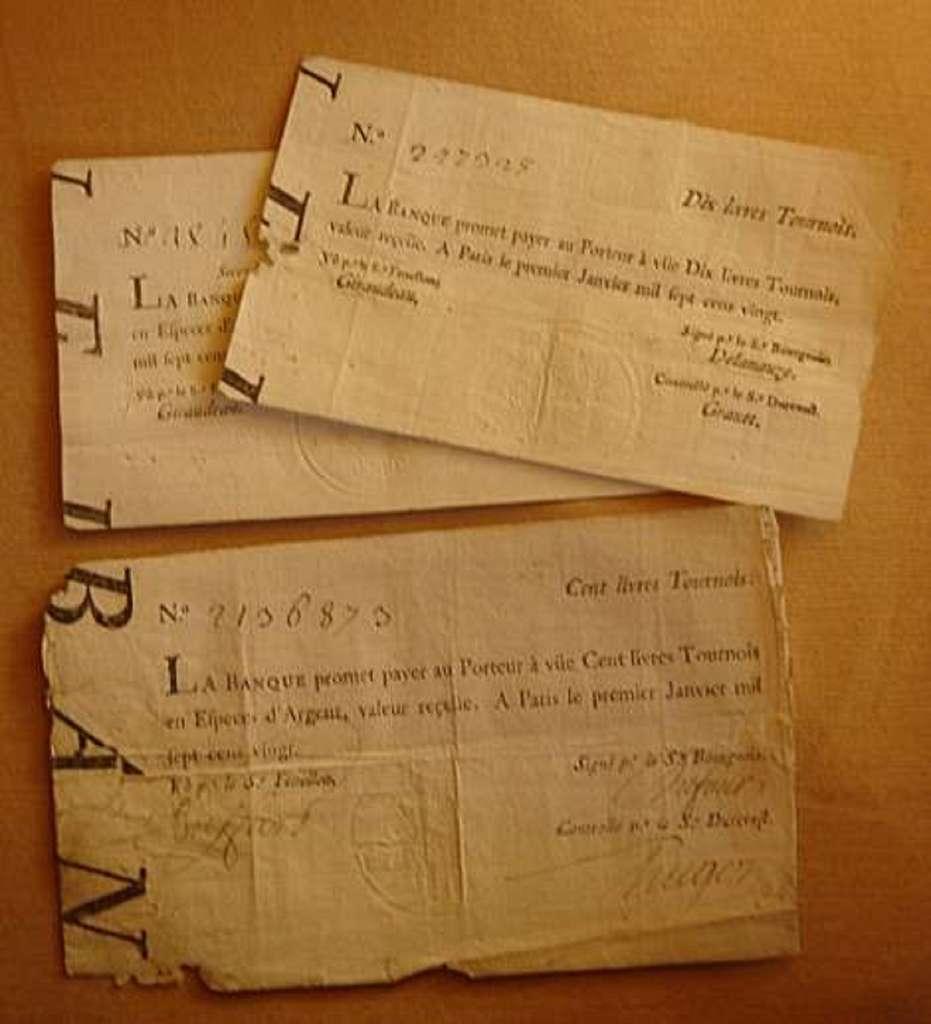 Billets de la Banque Royale émis le premier janvier 1720. © Wikimedia Commons, Domaine Public