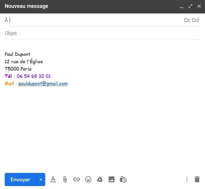 Vos mails sur Gmail comportent désormais votre signature. © Google Inc.