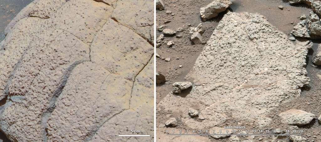 Deux roches montrant l'existence d'au moins deux environnements aqueux passés sur Mars, l'une étudiée par Opportunity (roche de gauche) et l'autre par le rover Curiosity. © Nasa, JPL-Caltech, Cornell, MSSS