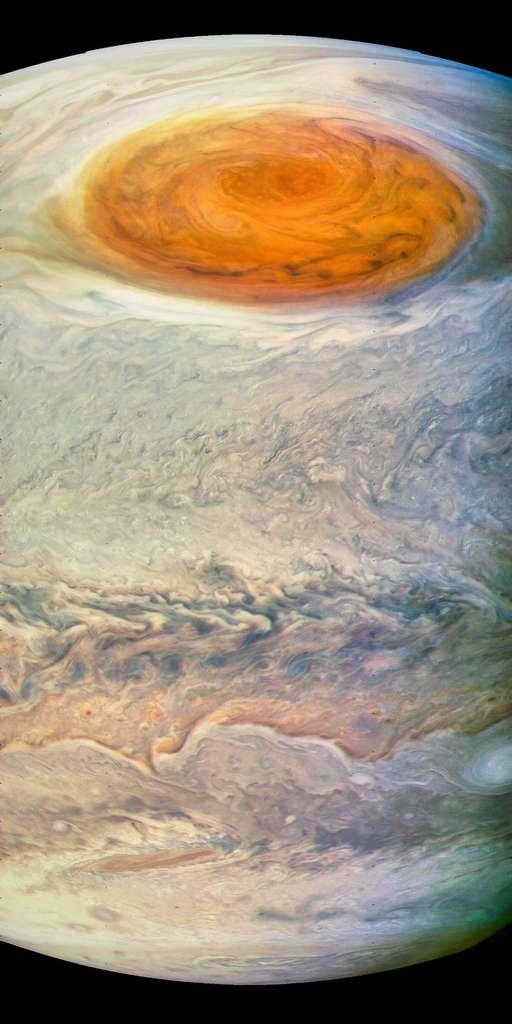 Une autre interprétation d'une image brute de la Grande Tache Rouge. © Nasa, JPL-Caltech, SwRI, MSSS, Kevin Gill
