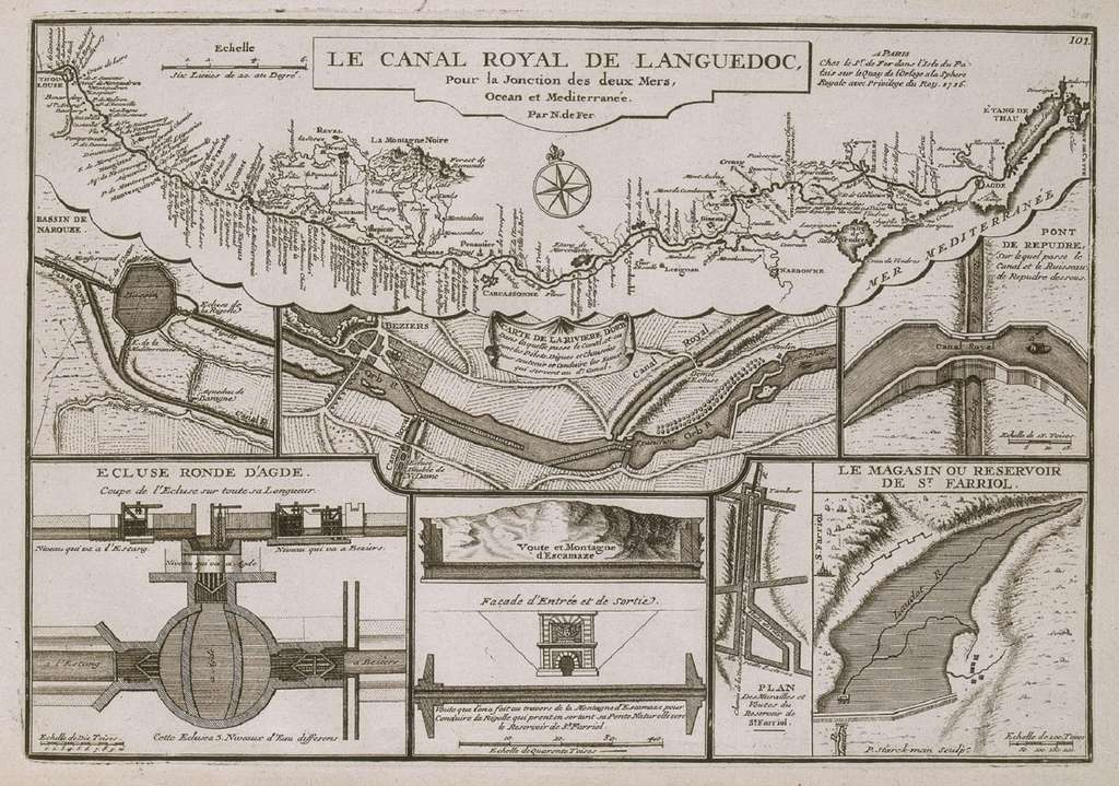 """Carte """"Le canal royal de Languedoc pour la jonction des deux mers, Océan et Méditerranée"""", par Nicolas de Fer en 1716. Château de Versailles. © RMN - Grand Palais / Gérard Blot."""