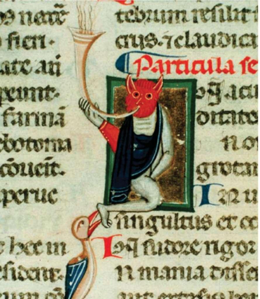 Fragment du Codex Paneth, terminé à Bologne en 1326. Sur l'illustration, un démon soufflant de la trompe, métaphore vraisemblable de la maladie, placé sur un texte des aphorismes d'Hippocrate. © Dunod